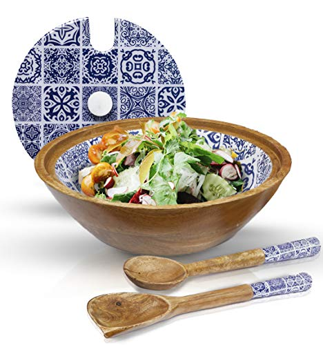 """Decorative Wooden Salad Bowl Set with Lid and Servers in Moroccan Blue. Premium Mango wood bowls with Tongs Set for Salads, Cereal, Popcorn & Fruit. Great for Home and Entertainment! 12"""" Wooden bowl."""