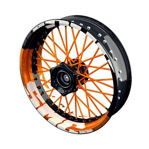 OneWheel Felgenaufkleber Motorrad passend für KTM SMC Racing passt auf alle 17 Zoll Supermoto Felgen - Vorder- und Hinterrad beidseitig inkl. Farbiger Spokes - V7 - Felgenrandaufkleber (orange)