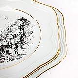 3 Fuentes de servir - Vajilla BIDASOA - Porcelana blanca con filo de oro y paisajes...