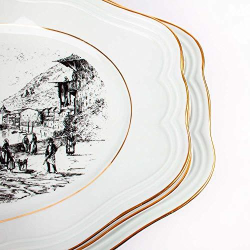 3 Fuentes de servir - Vajilla BIDASOA - Porcelana blanca con filo de oro y paisajes pesqueros | Diseño clásico CARLOS IV