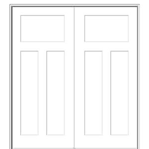 National Door Company ZZ09498BA Solid Core Molded Craftsman 3-Panel, Prehung Interior Double Door, 60