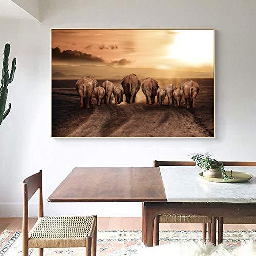 African Elephant Wildlife canvas schilderij Scandinavische posters en afdrukken muurkunst afbeelding zonder lijst voor woonkamer wooncultuur