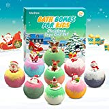 Bath Bombs for Kids with Surprise Toys On The Top, Bubble Bath Fizzies Gift Set with Santa Claus, Elk& Snowman, Handmade Vegan & Organic Bath Bombs with Essential Oils, Christmas Gifts for Girls, Boys
