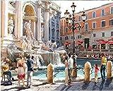 Pintura al óleo digital - Fontana de Trevi de Roma DIY Pintura al óleo adultos, niños y principiantes, usan pinturas y pinceles para artístico regalo - 40x50 cm (Sin Marco)