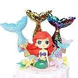 GKJ Mermaid Doll Cake Topper Figura Lentejuelas Mermaid Tail Cupcake Topper para Bodas Niños Cumplea...