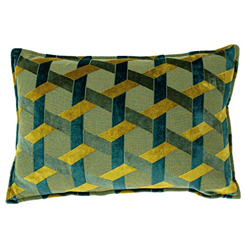 Paoletti Delano Feather Filled Cushion, Teal/Gold, 40 x 60cm
