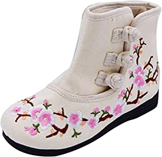 Fulision Girl's Embroidered Boot Flat Buckle Strap Plum Pattern Shoes Booties