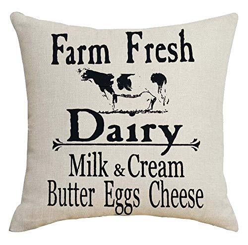 ZYCH Farm Fresh Dairy Milk and Cream Butter Eggs Cheese Cotton Linen Square Throw Pillow Case Cushion Cover 18 x 18 Throw Pillow Covers (31)