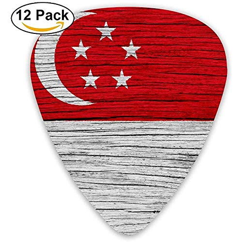 Vlag Van Singapore Houten Textuur Gitaar Pick 12pack