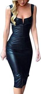 576edc2b328 LILICAT Vestido de Cuero para Mujer, Vestido de Fiesta para Bodas Cortos  Bodycon de Moda