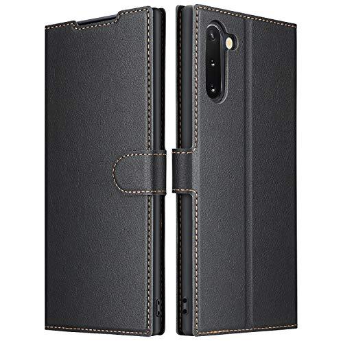 ELESNOW Hülle für Samsung Galaxy Note 10, Premium Leder Flip Wallet Schutzhülle Tasche Handyhülle für Samsung Galaxy Note 10 (Schwarz)