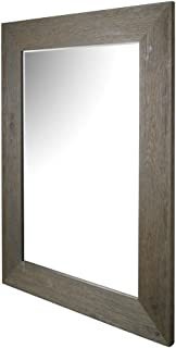 ArtMaison Beveled Hanging Wall Decorative Mirror with Hand Stained Gray Frame, 34-Inch by 46-Inch