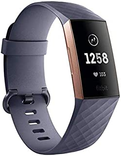 Fitbit Charge 3 Advanced Health and Fitness Tracker, Blue Grey/Rose Gold Aluminium