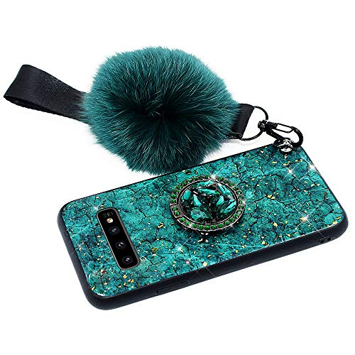 Hpory Kompatibel mit Galaxy S10 5G Hülle, Handyhülle Samsung Galaxy S10 5G Glitzer Muster TPU Silikon + PC Hart Case Cover Tasche Schutzhülle für Mädchen Damen mit Ring Halter Plüsch Ball - Grün