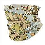 BFDX Island Map Decor Collection Bandana sin costuras Cara Head Wrap Bufanda Diadema Calentador de cuello Polaina Sombreros Pasamontañas para polvo al aire libre Raves Deportes Música Regalo
