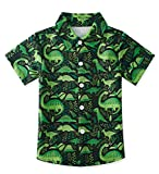 3 Years Boys Bright Green Dinosaur Colors Aloha Hawaiian Soft Button Down Summer Hawaiian Party Shirt for Birthday Party Wear 3-4T