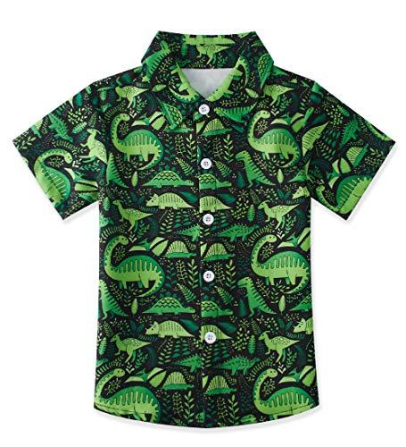 3 Years Boys Bright Green Dinosaur Colors Aloha Hawaiian Soft Button Down Summer Hawaiian Party Shirt for Birthday Party Wear 3-4T