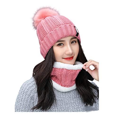 Krystle Winter Soft Warm Snow Proof Pom Pom Cap (Inside Fur) Woolen Beanie Cap with Scarf for Women's & Girl's (Pink, Freesize)-(Pack of 02)