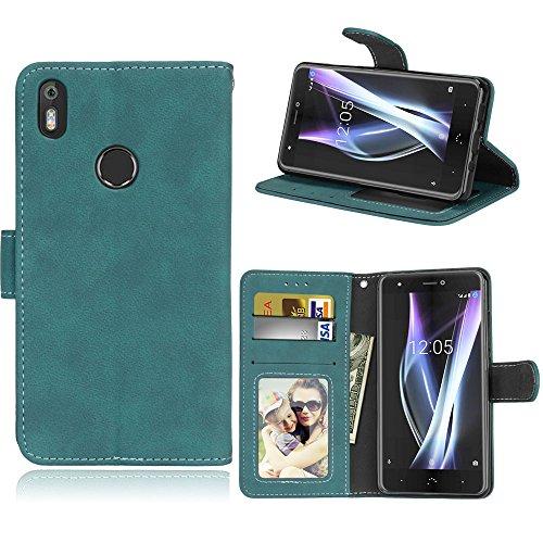 BQ Aquaris X/X Pro Hülle, SATURCASE Retro Mattiert PU Lederhülle Magnetverschluss Flip Brieftasche Handy Tasche Schutzhülle Handyhülle Hülle mit Standfunktion für BQ Aquaris X/X Pro (Blau)