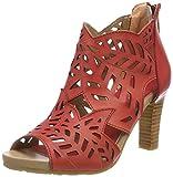 Sandalias Peep Toe de mujer LAURA VITA Alcebaneo 048, Rojo (Rouge Rouge), 36 EU