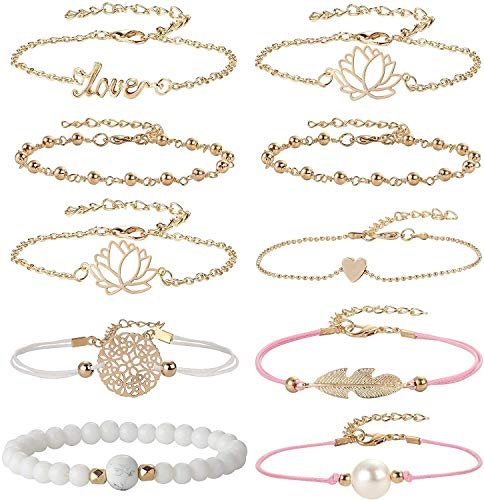 LQXZJ Pulseras del encanto for las mujeres de las muchachas del grano de la cuerda Enlace en capas pulseras Set (Color : Style 1)