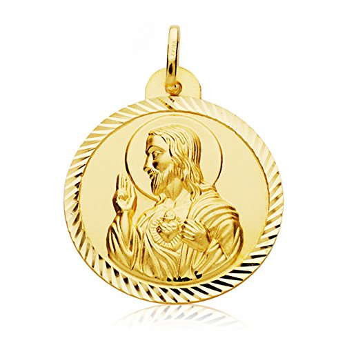 Escapulario Virgen Carmen y Corazón de Jesús Medalla Oro 18k hélice 26 mm