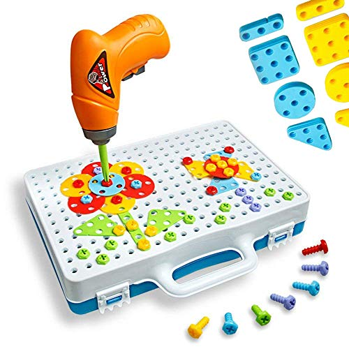 Enllonish Building Blocks Pegboard Toy Construction Toy Set Take Apart Toys with Crew Screwdrivers...