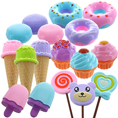 GiftExpress 17 PCS Pretend Play Food Dessert Set, Sweet Treats Assortment, Toy Donuts, Cupcakes, Ice Cream, Candy Bars, Assorted Dessert Toys for Kids