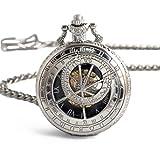 Jue Reloj de bolsillo, reloj de bolsillo de la Vendimia Hueco Constelación brújula mecánica Grande reloj de bolsillo mecánico A+ (Color : D)