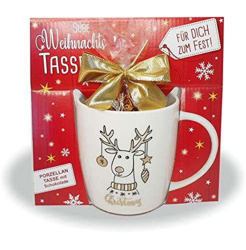 AV Andrea Verlag Süße Weihnachtstasse - Rentier - Kaffeetasse und Schokolade mit Geschenkverpackung zu Weihnachten. Beidseitig mit Gold Bedruckt