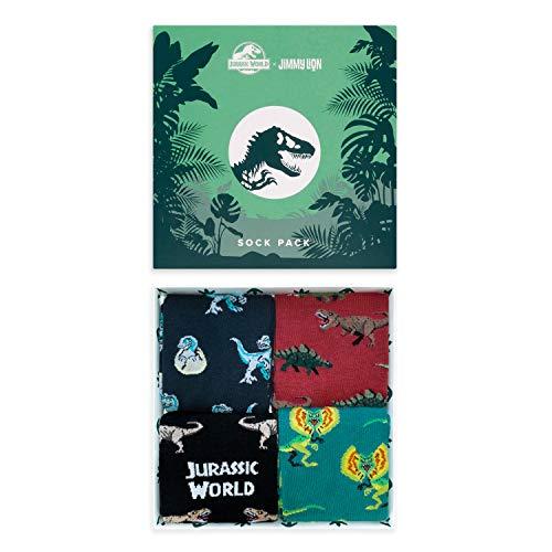 Jimmy Lion Packs de Calcetines Jurassic World Pack para Hombre y Mujer Talla 41-46. Media Caña en algodón peinado.