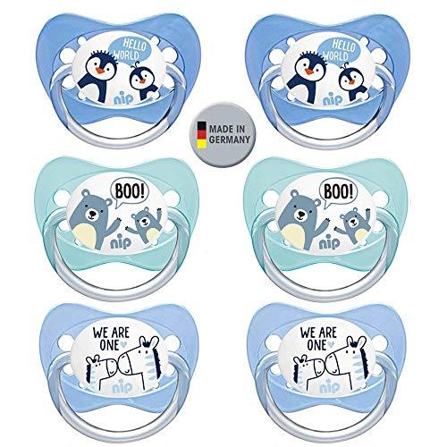NIP spaarset siliconen fopspeen familie met ring maat 3. (18-32 ma.) Set van 6 Boys BPA-vrij made in Germany