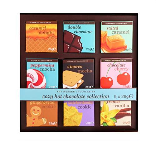 Modern Gourmet Foods, Mix per Cioccolata Calda, Set Regalo, i Gusti Includono Caramello Salato, Biscotti Pan di Zenzero, Vaniglia Francese e Tanti Altri, Confezione da 9