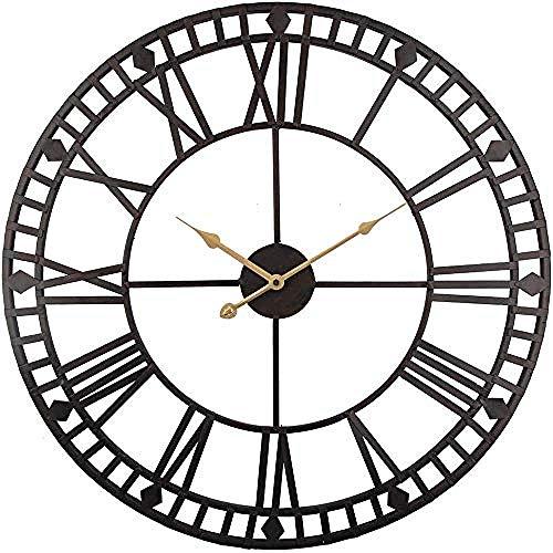 yaoyao Wandklok Voor Woonkamer Klok, Wandklokken Vintage Wandklok 60Cm Grote Klok Horloge Smeedmetaal Industriële IJzeren Klok Horloge Saat Classic