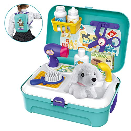 Bowa Tierarzt Spielset Hundesalon Haustier Einstellen im Koffer Kleiner Rucksack Rollenspiel Spielzeug mit 16-teilig für Kinder 2 3 4 5