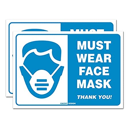 Corona Virus protection products (Pack of 2) Face Mask Required Sign | 10″ x 7″ | 4 Mil Vinyl | Laminated