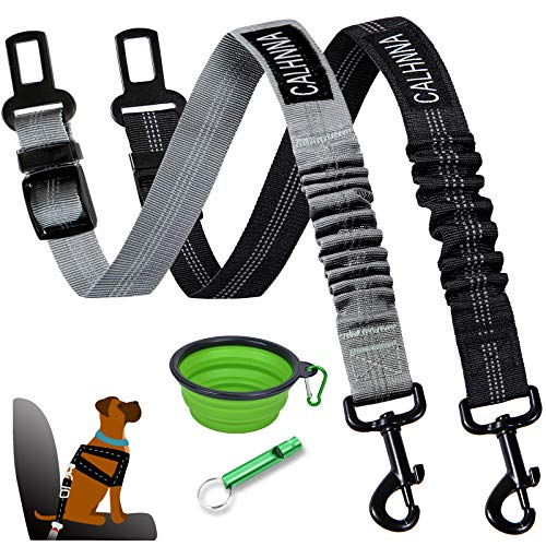 Dolebean 2 Pieces Cat Dog Car Seat Belt Adjustable Pet Seat Belts with Doggy Whistle and Portable Water Bowl for Pets | and Elastic Vehicle Seatbelt Harness for Dogs and Cats. (Grey- Black)