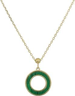 Gioiello Italiano - Collana in oro giallo 14kt con pendente tondo e pietre naturali a scelta, lunghezza 41-44cm, da donna