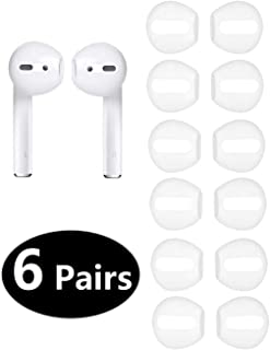 12PCS [Fit in The Case] Earbud Cover Accessories Ear Tips Earpads for Apple AirPods, JNSA AirPods Tips 6 Pairs White