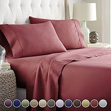 HC COLLECTION Hotel Luxury Bed Sheets Set TODAY! On Amazon Soft Bedding 1800 Series Platinum Collection-100%!Deep Pocket,Wrinkle & Fade Resistant (CalKing,Burgundy)