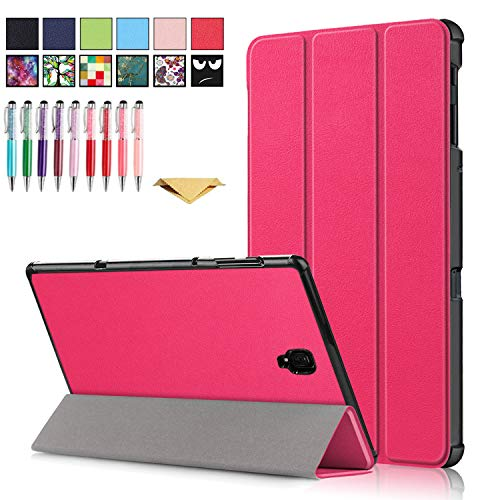 QYiD Galaxy Tab A 10.1 Case SM-T580, Slim Tri-Fold PU Leather Cover Case with Auto Sleep/Wake Feature for Galaxy Tab A 10.1 inch 2016 Modle SM-T580/T585, Rose
