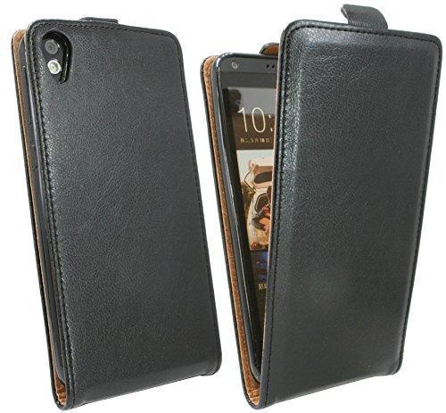 ENERGMiX Klapptasche Schutztasche kompatibel mit HTC Desire 820 in Schwarz Tasche Hülle