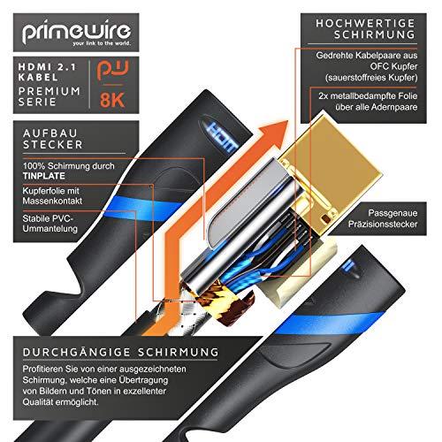 CSL - 8k HDMI Kabel 2.1 2m Meter - 8K @ 60Hz 4K @ 120Hz mit DSC - 48 Gbit/s - HDMI 2.1 2.0a 2.0b - 3D - Highspeed Ethernet - HDTV - UHD II - Dynamic HDR-10+ - eARC - Variable Refresh Rate VRR