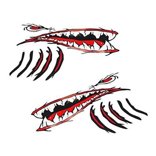Pedazos de tiburón de 2 piezas para boca de tiburón con ojos rojos y hendiduras branquiales negras rojas, diseño nuevo y genial Pegatinas de kayak de barco de pescado impermeables, autoadhesivas y de larga duración Color fuerte, durable, vibrante y f...