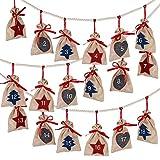 D-FantiX Christmas Advent Calendar 2021, 24 Days Burlap Hanging Advent Calendars Garland Candy Gift...