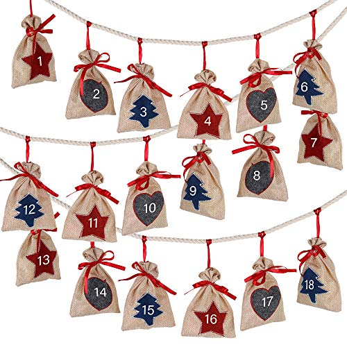 D-FantiX Christmas Advent Calendar 2020, 24 Days Burlap Hanging Advent Calendars Garland Candy Gift Bags Sacks DIY Xmas Countdown Christmas Decorations for Wall Home Office