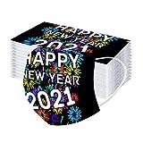 PPangUDing 50 Stück Mundschutz Einweg 3-lagig 2021 Happy New Year Druck Baumwolle Atmungsaktive Staubdicht Mund und Nasenschutz Bandana Multifunktionstuch Halstuch Schlauchtuch für Damen Herren