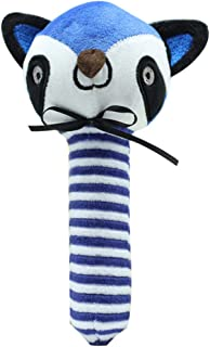 Plush Toy Baby Hand Stick Baby Handbell Baby Toy Soft Hand Rattle Toys Infant Dolls for Newborn Toddlers (Raccoon)