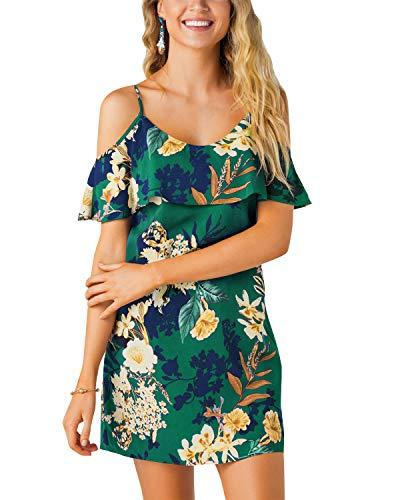 YOINS Vestido de verano para mujer, sexy, con hombros descubiertos, de tipo túnica, manga corta, minivestido, diseño de flores, Verde--01, L