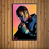 DIY Pintura Digital Travis Scott Music Star Rap Hip Hop Rapero Modelo de Moda Pintura artística Lienzo de Seda Pared Decoración para el hogar Quadro Cuadros 40x50cm Sin Marco